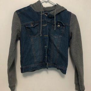 gray dark denim jacket with gray cotton sleeves